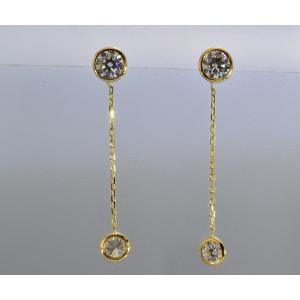 ハート&キューピッドダイヤのゆれる ダイヤピアス 0.3カラット イエローゴールドチェーン の長さは自由にお作り出来ます!トータル約1カラット ダイヤピアス|diadia