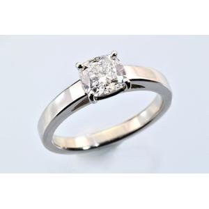 重厚で繊細!クッションカット ダイヤモンド 上品な一粒ダイヤモンドリング 1ct プラチナ|diadia