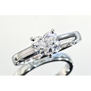 ハッピーハートダイヤリング プラチナ 1カラット Fカラー VVS1 カテドラルセッティングがダイヤを引き立てる!|diadia