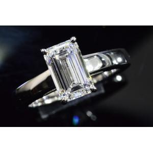 ほぼ2カラット エメラルドカット ダイヤリング 指輪 Eカラー IF インターナリーフローレス品質透明感が非常に強い!|diadia