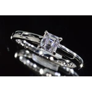 アッシャーカットダイヤリング指輪0.4カラットDカラーIF最高レベル