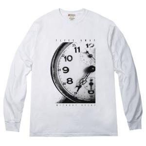 大きく時計モチーフ コンセプチュアル オリジナルデザイン ロングTシャツ