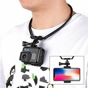 ikikin アクションカメラ 用首掛け 伸縮ロック式 スマホホルダー付き POV 撮影必要|diamod-snap987