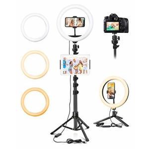 LEDリングライト Tocorpie 外径10インチ 照明撮影用ライト 三脚/卓上/壁掛け/手持ち 4WAY多機能 3色と10の明るさ 3000|diamod-snap987