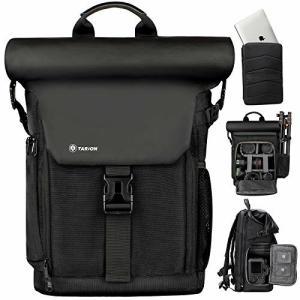 TARION カメラバッグ 2020年最新版分離式パソコン収納バッグ付き サイドアクセス ロールトップ設計 大容量 容量|diamod-snap987