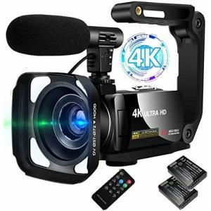 ビデオカメラ 4K デジタルビデオカメラ ユーチューブカメラ 外付けマイク+シェード+ハンドル+予備バッテリー|diamod-snap987
