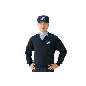 MIZUNO ミズノ  ソフトボール審判員用 V首セーター -ネイビー-|diamond-sports