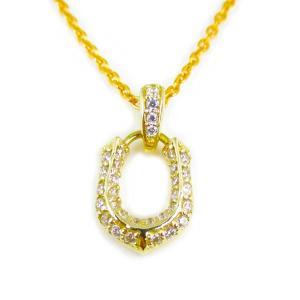 人気 メンズ レディース ブランド blackdia 小馬蹄 ジルコニア ペンダントトップ ゴールド 金 ホースシュー|diamonddust