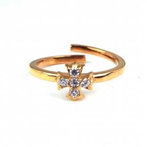 人気 メンズ レディース ブランド blackdia 22K GP クロス 5石 リング フリーサイズ 金 十字架 指輪|diamonddust