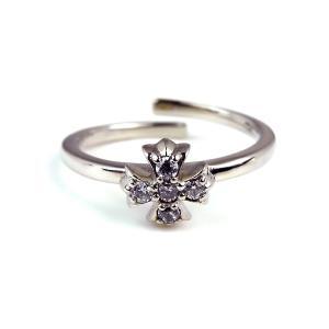 人気 メンズ レディース ブランド blackdia シルバー クロス 5石 リング フリーサイズ 銀 十字架 指輪|diamonddust
