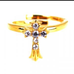 人気 ブランド blackdia 18K GP 6石 ジルコニア クロス リング|diamonddust