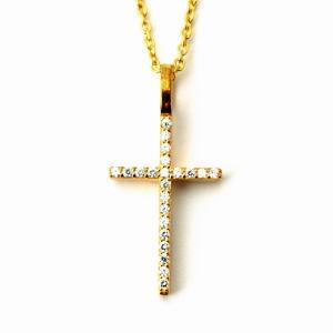 人気 メンズ レディース ブランド blackdia 18K GP ゴールド CZ クロス ネックレス 金 十字架 シルバー 925|diamonddust
