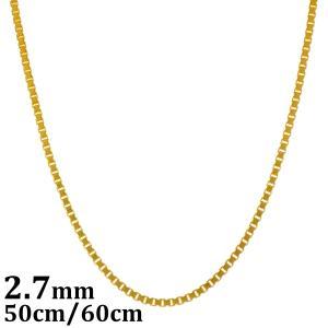 ネックレス メンズ レディース ブランド ジュエリー シルバー 925 ゴールド シンプル チェーン blackdia 18K GP ゴールド ベネチアン チェーン 2.7mm 50cm 60cm|diamonddust