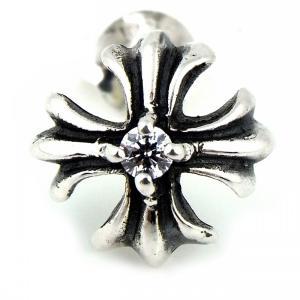 人気 メンズ レディース ブランド blackdia シルバー CZ クロス プラス スタッド ピアス 片耳 金 十字架 シルバー 925|diamonddust
