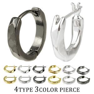 ピアス メンズ レディース blackdia ブランド シングル フープピアス ゴールド シルバー ブラック 片耳 小さめ リング カッティング 3カラー 4タイプ|diamonddust
