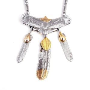 ゴローズ好きに SBG イーグル 3枚 フェザー ビーズ ネックレス 人気 ブランド|diamonddust