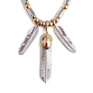 ゴローズ好きに SBG 銀金 フェザー 革紐 ビーズ ネックレス 人気 ブランド|diamonddust