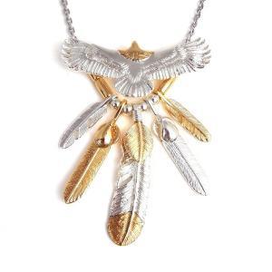 【送料無料】 人気ブランドSBG(エスビージー)頭金イーグルフェザー5枚ネックレス。大きく羽を広げた...