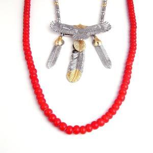 ゴローズ好きに SBG イーグル フェザー ビーズ ネックレス 赤 銀 人気 ブランド|diamonddust