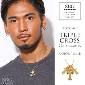 【10月中旬入荷予定】ネックレス メンズ ブランド 金 十字架 SBG 22KGP ジルコニア クロス ツイスト チェーン ネックレス ゴールド|diamonddust