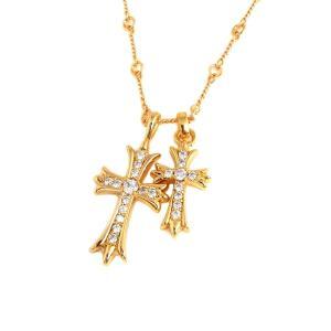 ネックレス メンズ ブランド 金 ゴールド 十字架 SBG ダブル クロス ツイスト チェーン ネックレス|diamonddust