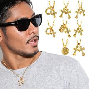 ネックレス メンズ ブランド SBG 十字架 クロス 馬蹄 スマイル 金 銀 黒 ゴールド シルバー ブラック|diamonddust