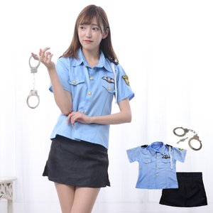 ハロウィン コスプレ ポリス 3点セット スカート・シャツ・手錠付き 婦人警官 コスチューム 衣装|diamondhearts