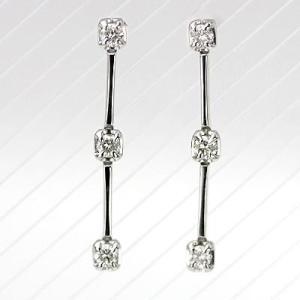 K18WGダイヤモンド3ストーンピアス 0.10ct|diaw