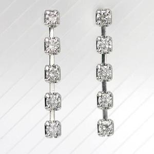K18WGダイヤモンドファイブストーンピアス 0.20ct|diaw