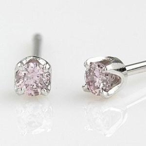 PTピンクダイヤモンドピアス 4本爪  0.08ctK18PG枠(6本爪)も選べます|diaw