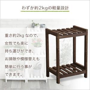 フラワースタンド 2段 木製 室内 屋外 花台 白 おしゃれ|dicedice