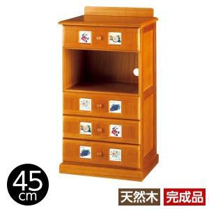 サイドボード/リビングボード (南欧風家具) 〔2: 幅45cm〕 木製 ライトブラウン 〔完成品〕|dicedice