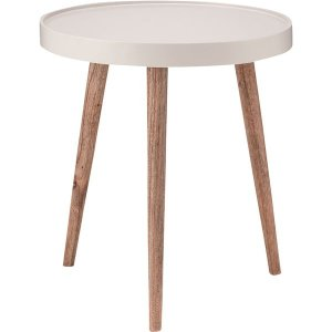 サイドテーブル(トレーテーブル) 木製 丸型 大(Lサイズ) NW-724 ホワイト(白) dicedice