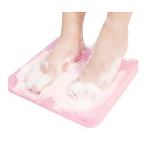 足裏洗い専用マット/お風呂グッズ 〔ピンク〕 幅30.3cm 日本製 耐熱温度80℃ 『HaShy』 〔浴室 シャワールーム〕|dicedice