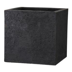 樹脂製 プレゼント 植木鉢 プランター 〔ブラック 幅50cm〕 期間限定今なら送料無料 キューブ リガンデ 新素材ポリストーンライト使用 底穴あり