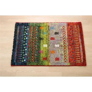 トルコ製 ウィルトン織り 玄関マット フロアマット グリーン 約50×80cm dicedice