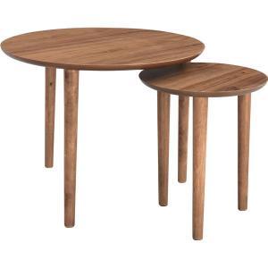 天然木ラウンドネストテーブル/入れ子テーブル 〔円形 直径60cm・直径37cm〕 ウォールナット  TAC-224WAL dicedice