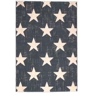 <title>ビンテージ風 値引き ラグマット 絨毯 〔160cm×230cm ブルー〕 長方形 ベルギー製 ウィルトン CANVAS スター 〔代引不可〕</title>