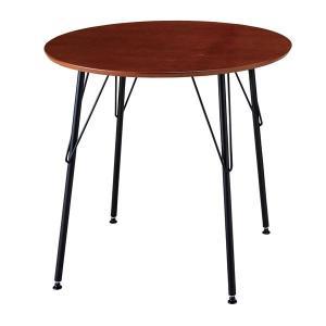 <title>シンプル 価格交渉OK送料無料 ダイニングテーブル 丸テーブル 〔ブラウン〕 幅80cm 天板:PU塗装 スチールフレーム 木目調〔代引不可〕</title>