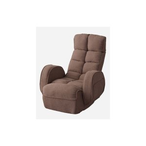 シンプル お得 座椅子 フロアチェア 〔ブラウン〕 祝日 幅67cm 肘付きリクライナー スチール ポリエステル 〔リビング ダイニング〕