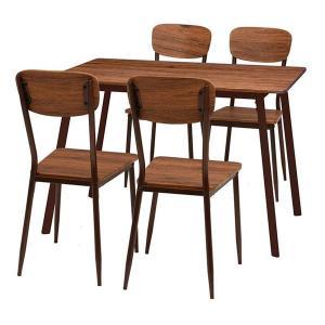 ダイニングテーブル チェア 5点セット 〔テーブル幅110cm 台所〕〔代引不可〕 正規品 ブラウン〕 〔リビング アウトレット☆送料無料 スチールパイプ