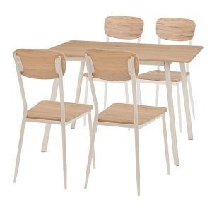 ダイニングテーブル チェア 5点セット 〔テーブル幅110cm 台所〕〔代引不可〕 スチールパイプ 受注生産品 ナチュラルホワイト〕 〔リビング 初回限定