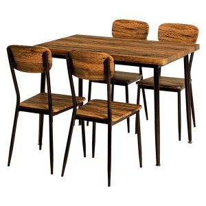 ダイニングテーブル チェア 5点セット 2020A W新作送料無料 〔テーブル幅105cm 激安超特価 〔リビング 台所〕〔代引不可〕 スチールパイプ ブラウン〕