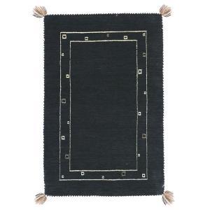 <title>ギャッベ ラグマット 絨毯 〔約70×120cm ブラック〕 ウール100% 保温性抜群 調湿効果 オールシーズン対応 〔リビング〕〔代引不可〕 お歳暮</title>