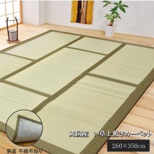 純国産 日本製 激安特価品 い草カーペット い草マット お得なキャンペーンを実施中 約260×350cm 裏:不織布張り コンパクト収納可 グリーン
