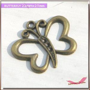 金古美チャーム アート的な蝶々 22mm×25mm|different