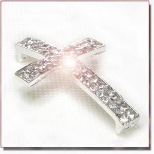 【在庫処分】Cross Beads Crystal Silver キラキラ合金シルバークロス ビーズ|different