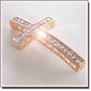 【在庫処分】Cross Beads Crystal Gold キラキラ合金クリスタルゴールドクロス ビーズ|different