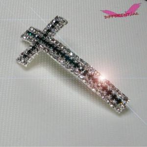 【在庫処分】Cross Beads Emerald Green&Crystal Silver キラキラ合金エメラルドグリーン&クリスタルクロス ビーズ|different