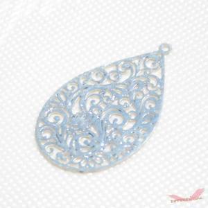 透かし ティアドロップ型 デザイン チャームパーツ Silver 18*30mm|different